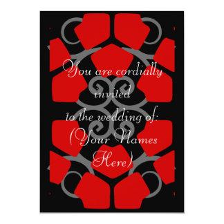 Convite de casamento preto, branco, e vermelho do