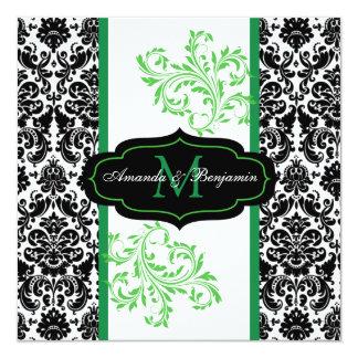 Convite de casamento preto, branco, verde do rolo convite quadrado 13.35 x 13.35cm