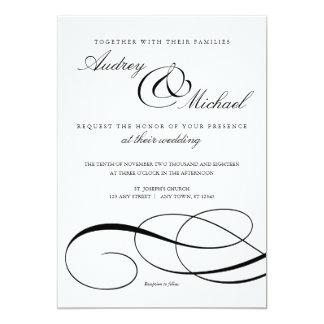 Convite de casamento preto e branco da caligrafia