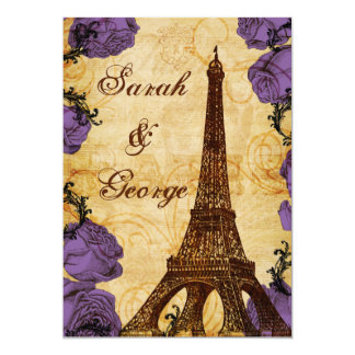 convite de casamento roxo de Paris da torre Eiffel