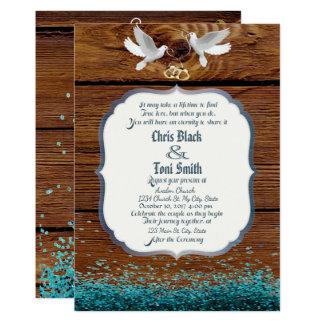 Convite de casamento rústico da madeira & das