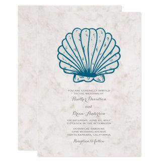 Convite de casamento rústico do Seashell dos azuis