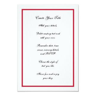 Convite de casamento simples vermelho e branco da
