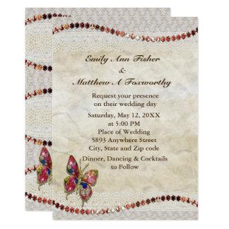 Convite de casamento Sparkly da borboleta, do laço