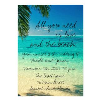 Convite de casamento tropical da praia de Florida