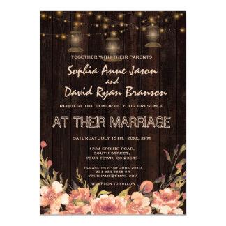 Convite de casamento velho de madeira floral das