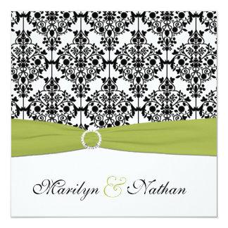 Convite de casamento verde, branco e preto do