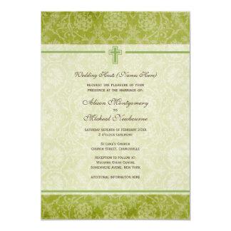 Convite de casamento verde da igreja cristã do convite 12.7 x 17.78cm