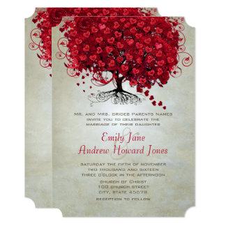 Convite de casamento vermelho da árvore da folha