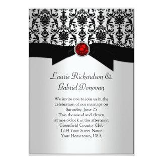 Convite de casamento vermelho da jóia do damasco