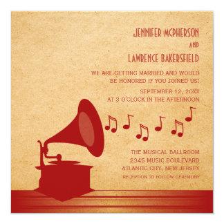 Convite de casamento vermelho do gramofone do