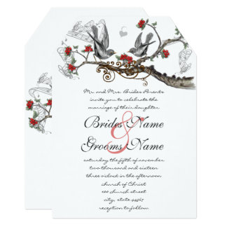 Convite de casamento vermelho rústico romântico