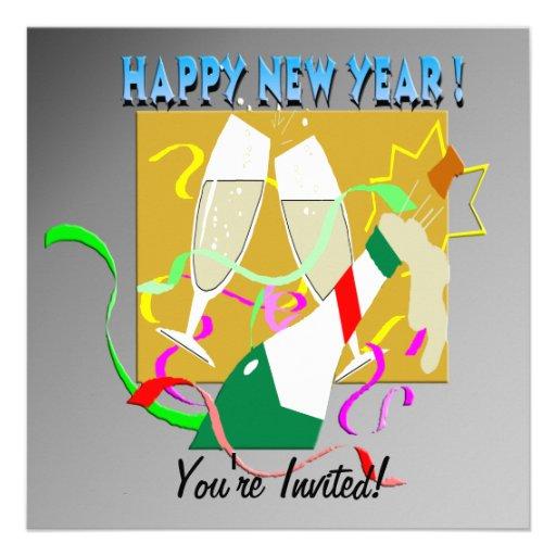 Convite de Champagne do feliz ano novo