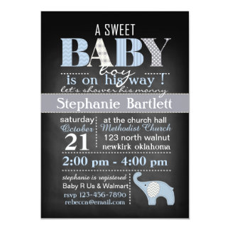 Convite de Chevron do bebé do quadro