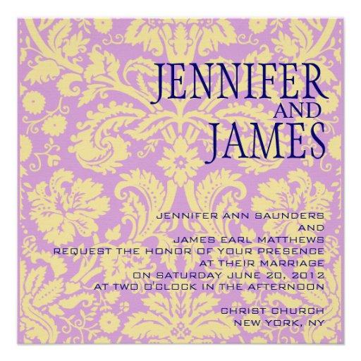 Convite de creme roxo azul do casamento tema damas