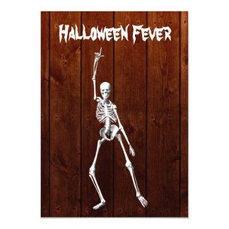 Convite de esqueleto da febre do Dia das Bruxas na