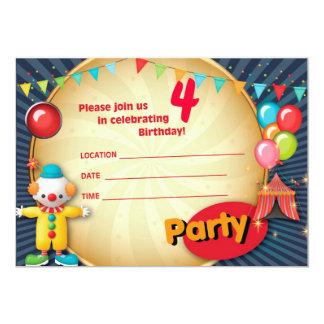 Convite de festas 1 do palhaço convite 12.7 x 17.78cm