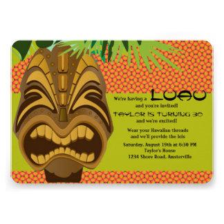 Convite de festas 2 de Tiki Luau da ilha