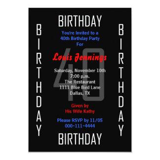Convite de festas 40 do aniversário de 40 anos