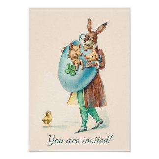 Convite de festas adorável da páscoa do vintage - convite 8.89 x 12.7cm