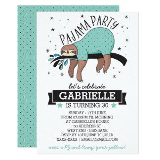 Convite de festas adulto do pijama da preguiça
