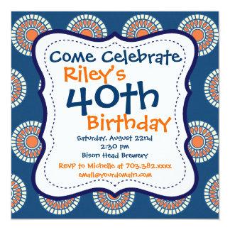 Convite de festas alaranjado azul do aniversário convite quadrado 13.35 x 13.35cm