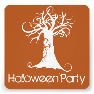 Convite de festas alaranjado do Dia das Bruxas da