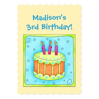 Convite de festas amarelo do aniversário de 3 anos convite 12.7 x 17.78cm
