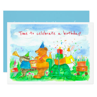 Convite de festas animal do aniversário de criança