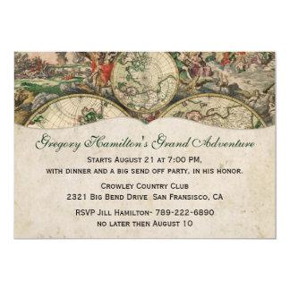 Convite de festas antigo do mapa