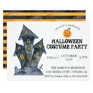 Convite de festas assustador do traje do castelo