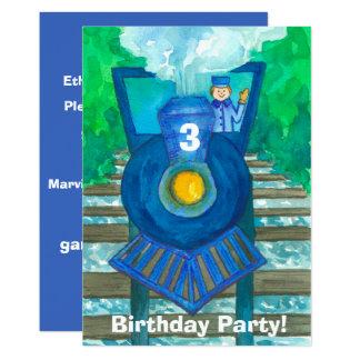 Convite de festas azul do aniversário de 3 anos do