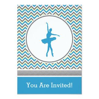 Convite de festas azul do dançarino de Chevron Convite 11.30 X 15.87cm