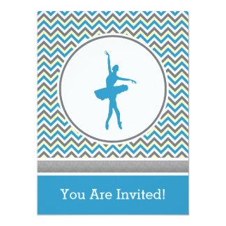 Convite de festas azul do dançarino de Chevron