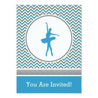 Convite de festas azul do dançarino de Chevron Convite 13.97 X 19.05cm