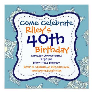 Convite de festas azul e alaranjado do aniversário convite quadrado 13.35 x 13.35cm