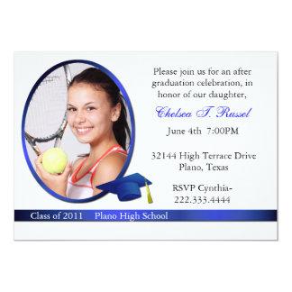 Convite de festas azul e branco da foto da
