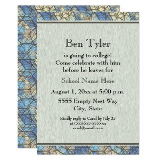 Convite de festas azul e cinzento do tronco