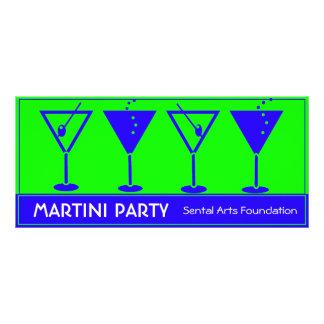 Convite de festas azul e verde de Martini 10.16 X 22.86cm Panfleto