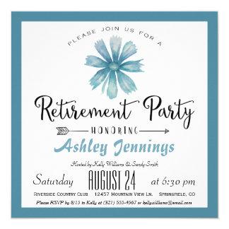 Convite de festas azul elegante da aposentadoria
