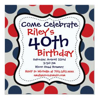 Convite de festas azul vermelho do aniversário de convite quadrado 13.35 x 13.35cm