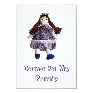 Convite de festas - boneca de pano