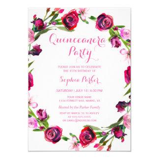 Convite de festas bonito de Quinceanera da flor do
