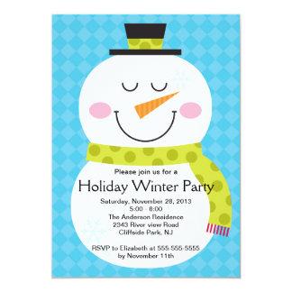 Convite de festas bonito do inverno do boneco de