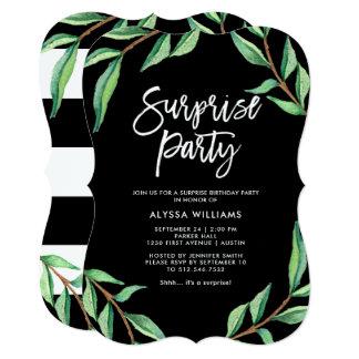 Convite de festas botânico listrado da surpresa de