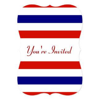 Convite de festas branco e azul vermelho