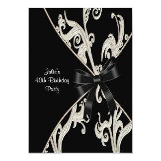 Convite de festas branco preto do aniversário de