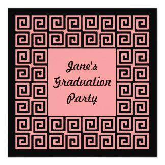 Convite de festas chave preto cor-de-rosa coral do