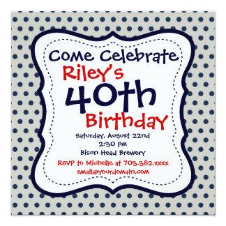 Convite de festas cinzento do aniversário de 40 convite quadrado 13.35 x 13.35cm