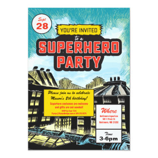 Convite de festas cómico do super-herói
